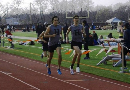 Cameron Riley and Joshua Garcia running the 5000m run. Photo Credit: Haskell Track & Field FB Page