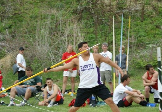 Isaac Johnson in the Javelin.  Photo Credit: Haskell Track & Field FB Page